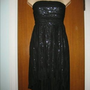 Black strapless shiny sequin cocktail dress